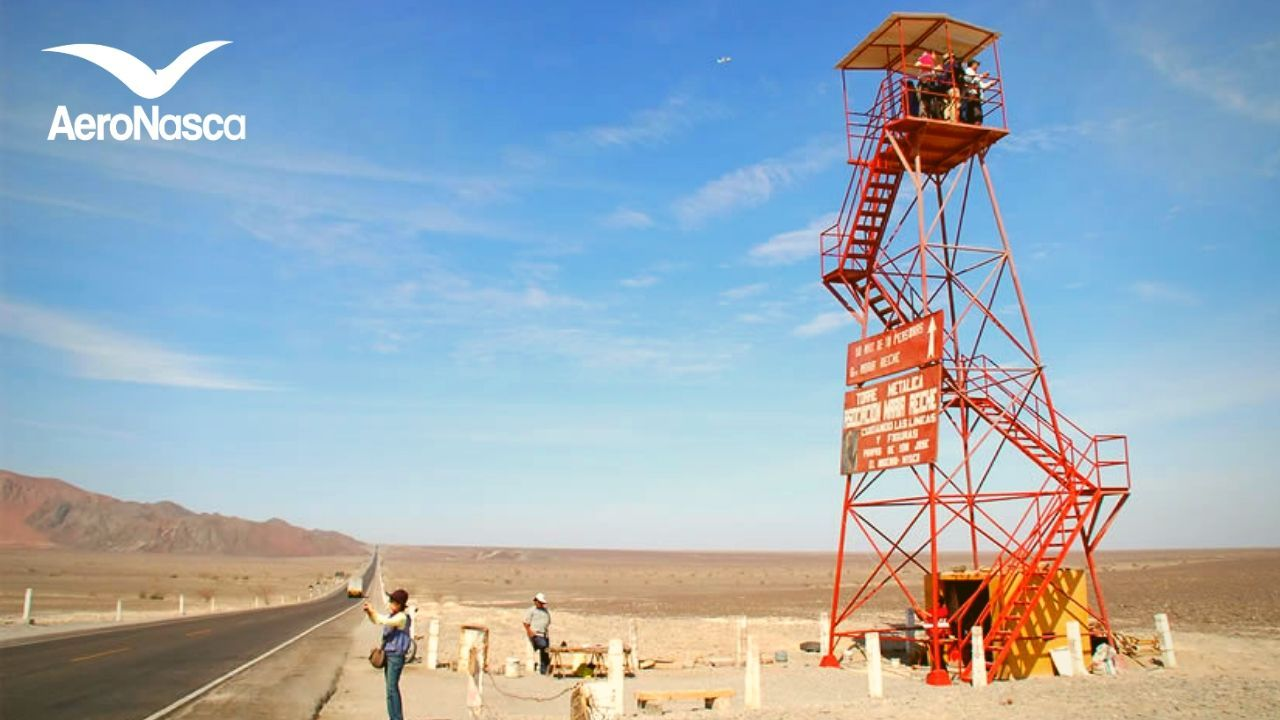 The Nazca Lines Tower next to the South Pan American Highway