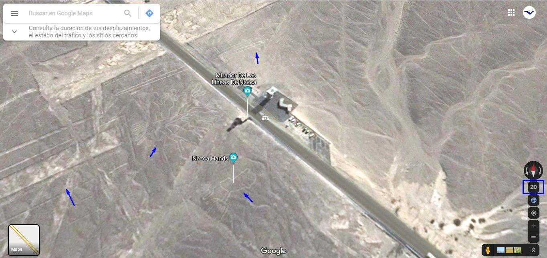 mira la ubicación de las lineas de nazca con google earth